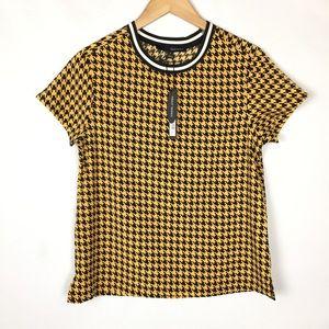 Harvé Benard houndstooth ringer blouse top
